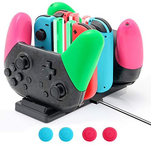ECHZOVE Switch Controller Charger, Fast Charging Dock for Nintendo Switch Joy Cons and Pro Controllers with Colored Lights, Include USB C Cable and 4 Joystick Covers