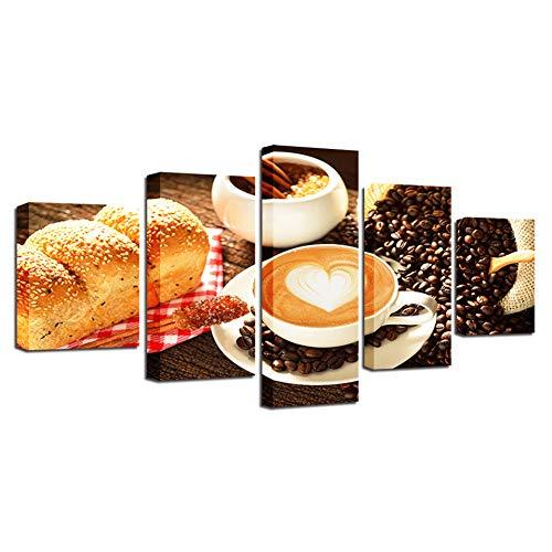 DAIZHJ Canvas Wall Art Foto's Voor Woonkamer HD Prints Voedsel Posters 5 Stuks Koffie En Brood Schilderijen Modulaire Home Decor