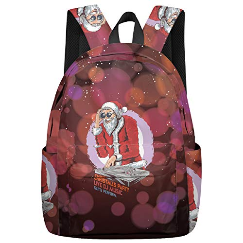 Student College Backpack,Shoulder Bookbags,Travel Backpack,Laptop Bag,DJ Santa Claus (15.7x11.8x6.7in) Best Backpacks for Teen Boys and Girls