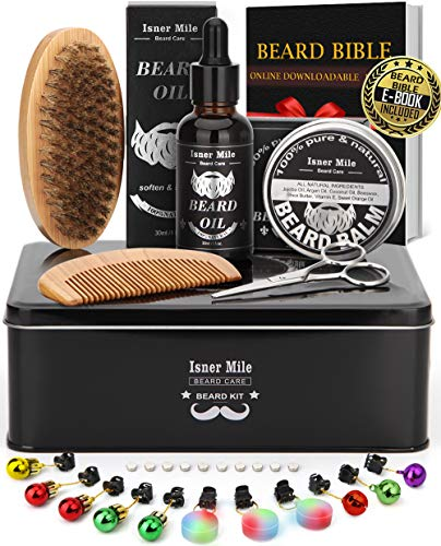 IsnerMile Beard Grooming Kit in Premium Metal Box with Beard Growth Oil, Balm, Bristle Brush, Double Sided Comb, Trimming Scissors & Shaping Tool, Ideal Gifts for Dad Fathers Him Men Man Boyfriend