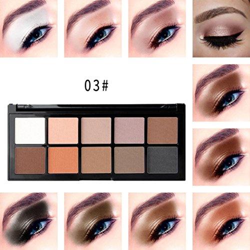 Coloré(TM) Palettes de maquillage Paillettes Poudre Ombre Cosmetic Matte fard à paupières crème maquillage Palette Shimmer Set 10 couleurs fard à paupières (C)