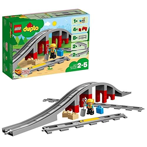 LEGO 10872 DUPLO Town Eisenbahnbrücke und Schienen, Bauset mit einem...