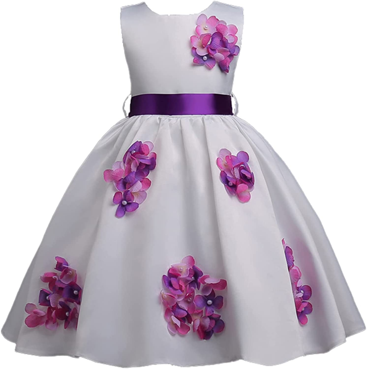 YiZYiF Kids Girl's Sleeveless 3D Flower Girl Dress Beaded Formal Party Special Occasion Dresses