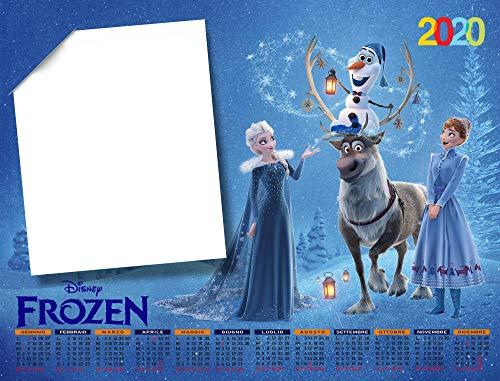 Calendario personalizado 2020 Art.1960 30 x 45 con 1 foto impresa en papel fotográfico semimate con adornos y gancho de pared.