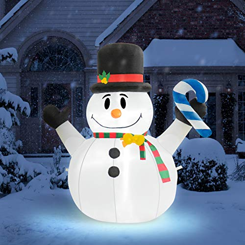 Rocinha 4 Feet Tall Christmas Inflatables Snowman,LED Lights Christmas Snowman, Christmas Decorations - Lawn Inflatables Family Indoor Outside Yard Garden Display