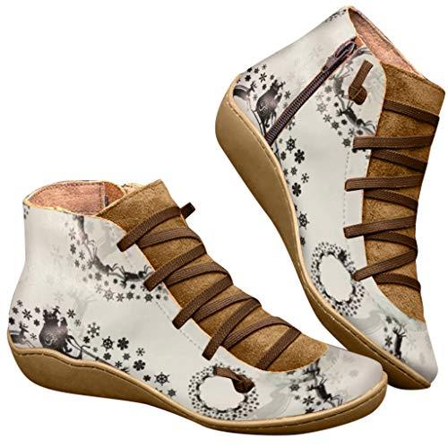 MOMOXI 2019 Nuevos Botines Femeninos Ocasionales De Encaje De Cabeza Redonda Retro con Estampado NavideñO, Moda para Mujer Pisos Casuales Zapatos con Cordones de Cuero Zapatos de Punta 35-43