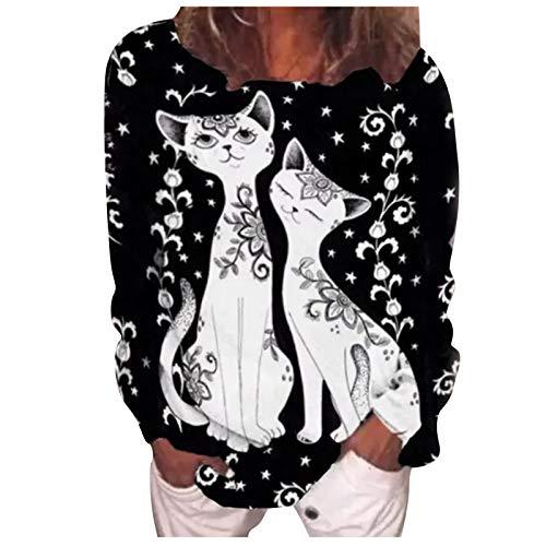 MEITING Damen T-Shirt 3D Katze Drucken Streifen Aufdruck Lange Ärmel Sweatshirt Basic Rundhals Lose Beiläufig Tops Oberteil Bluse Frühling Streetwear Beiläufige Damen T-Shirt Tees