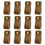 DOXILA - Tiradores de cuero para muebles - 12 piezas - 6*2,5 cm Tirador de cuero vintage hecho a mano para armarios de cocina - Baño - Armarios (café)