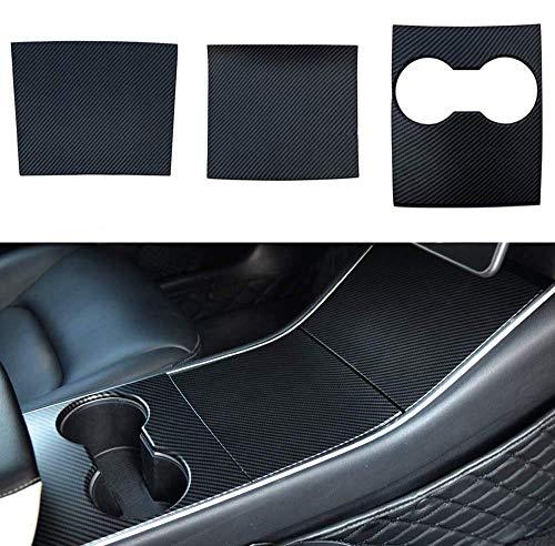 BMZX Model 3 Model Y Carbon Mittelkonsole Wrap Kit Folie ABS Kunststoff Armlehne Control Panel Dekorative Abdeckung Aufkleber für Model 3 Center Console Protector Zubehör (ABS-carbon fiber)