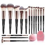 MAANGE Makeup Brushes 15 PCS Makeup Brush Set Premium Synthetic Kabuki Eye Makeup Brushes Makeup Brushes Sets Professional Brush Set With Sponge and Brush Egg (Blackgold)