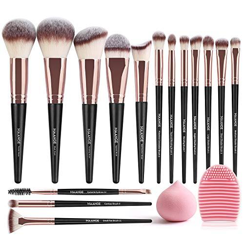 MAANGE Pinceaux Maquillages 15 Pcs Kit de Pinceaux Maquillage Synthétiques de Qualité Supérieure Pinceaux Maquillages yeux Pinceaux Maquillages Professionnel Avec éponge et Nettoyant Oeuf (Or Noir)