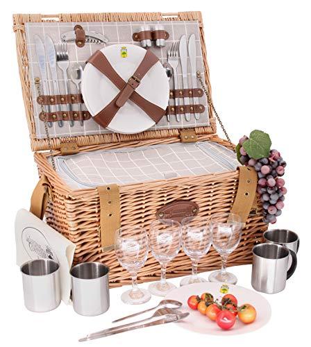 Les Jardins de la Comtesse – Cesta picnic de mimbre Concorde – 4 personas/nevera isotérmica / platos / copas de vino / tazas de metal – Tejido color blanco y gris – 47 x 31 x 24 cm