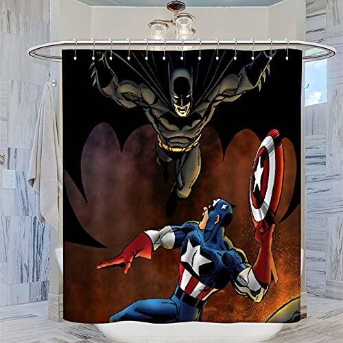 Captain America Batman Duschvorhang, 183 x 183 cm (183 x 183 cm) wasserdicht, mit 12 Kunststoff-Haken, waschbarer Badvorhang