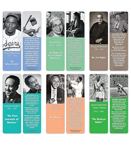 Creanoso Famous Historical African Americans Series 2 Bookmarks (12-Pack) – Learning Rewards Cards – Awesome Learning Gift Bookmarks for Students, Boys, Girls, Teens, African American Youth