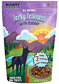 Bounty Bites Jerky Trainers with Rabbit - Soft USA Made Whole Food Benefit Meaty Low Calorie Training Treats