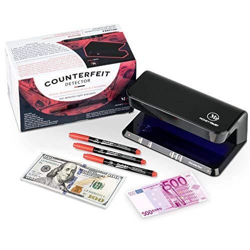Detector Billetes Falsos UV con 3 bolígrafos detectores incluidos de MoneyTrust que sirven para detectar billetes falsos con dos pasos y documentos con seguridad de luz ultravioleta