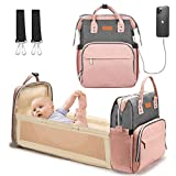 Baby Changing Bag Backpack Multifunctional Diaper Bag Nappy Changing Bag Travel Back Pack with Changing Mat Waterproof Baby Cot Bed Durable and Large Capacity Pink by YOOFOSS