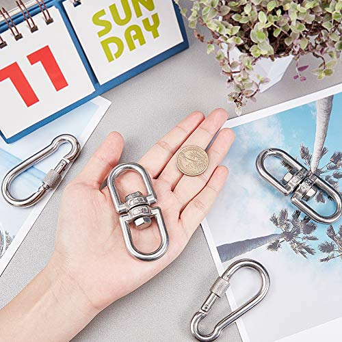 NBEADS 2 Pieces Stainless Carabiner Clip and 2 Pieces Swivel Clasp Set, Metal Hanging Snap Hook Clasp for Keychain Rock Climbing Camping Hiking