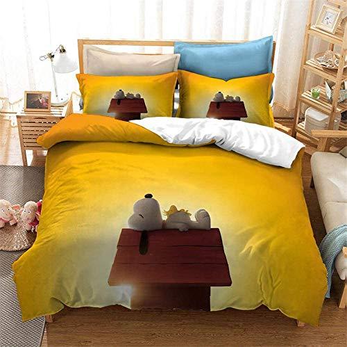 Hyzljo Juego de ropa de cama Snoopy, muy suave y cómodo, 100% microfibra, regalo para niños, 1...