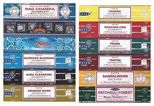 Satya Nag Champa Set de incienso 12 x 15 g incluye: Nag Champa, Super Hit, Aastha, Buda Blessing,...
