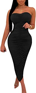 black ruched strapless dress