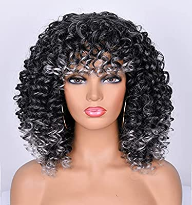 CiCi Short Curly Wigs For Black Women With Bangs Afro Short Kinky Curly Big Bouncy Hair Wig 12inch in Front 14 inch Back