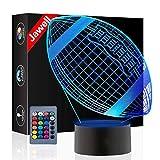 Rugby Illusion 3D lampe cadeau d'anniversaire lumière de nuit à côté de la lampe de table, Jawell 16 couleurs Auto changement interrupteur tactile