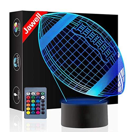 Weihnachtsgeschenk Rugby Spielzeug 3D Illusion Lampe Nachtlicht Neben Tischlampe, Jawell 16 Farben Auto Ändern Touch Schalter Schreibtisch Dekoration Lampen Geburtstagsgeschenk mit Fernbedienung