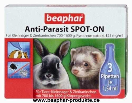Anti-Parasit SPOT-ON für Kleinnager 700-1600 g 3 x 1,54 ml Pipetten