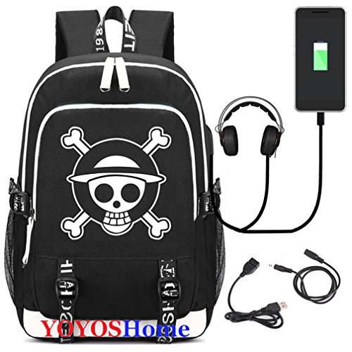 YOYOSHome Luminous Japanese Anime Cosplay Daypack Bookbag Laptop Bag Backpack School Bag with USB Charging Port (One Piece 1)