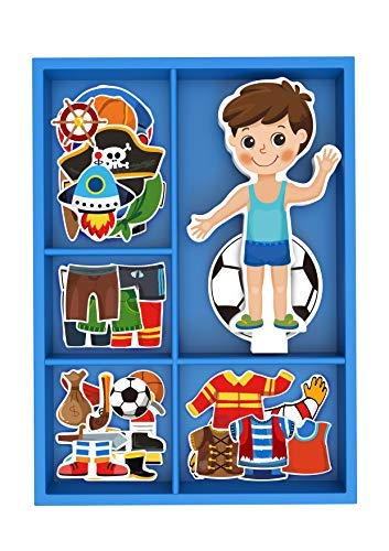 Toysters Magnetic Wooden Dress-Up Boy Doll Toy | Pretend Play Set Includes: 1 Wood Doll with 30 Assorted Costume Dress Ideas | Not Your Average Paper Doll | Great Gift Idea for Little Boys 3+ (PZ650)