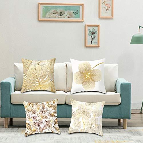 Funda de cojín de piel de melocotón 4PCS Funda de almohada de tiro suave cuadrada con patrón de hojas amarillas doradas Funda de almohada de sofá minimalista moderna para decoración del hogar 45x45 cm