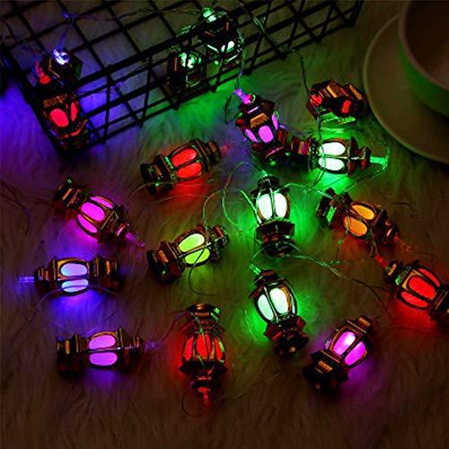 ZENING Luces de hadas Ramadán Decoración LED Luz Eid Mubarak Ornamento Decorativo Musulmán Fiesta Decoración del Hogar Adornamiento Ahuecar Romántico 10 LED 1.65 M Palacio Luz