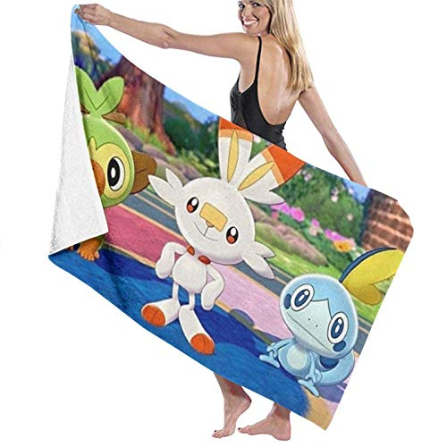 XCNGG Grookey Scorbunny Sobble Beach Towels Microfiber Super Soft Absorbent Blanket for Adults Women Men