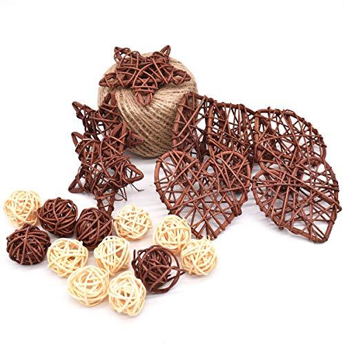 DBAILY Bolas Mimbre Ratán, 125m Guita Yute Natural 30 Piezas Decorativas Varios Pentagonal Corazón Forma Bolas para Manualidades Fiestas Decoración Mesa