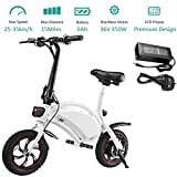 350W Folding Electric Bicycle with 15Mile Range Collapsible Lightweight Aluminum E-Bike Built-in 36V 6AH Lithium-Ion Battery, APP Speed...