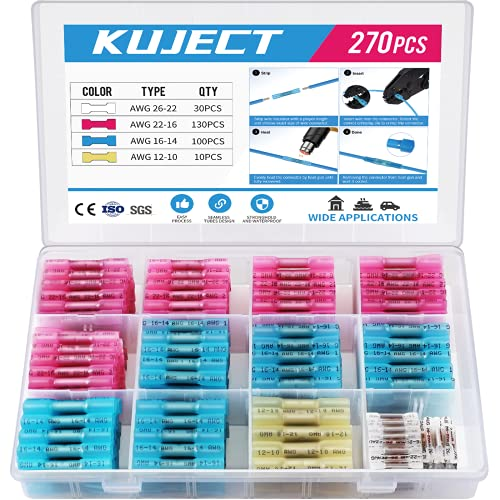 Kuject 270PCS Heat Shrink Butt Connectors, 4 Sizes Insulated Waterproof Wire Connector kit, Tinned Copper Electrical Crimp Connectors for Automotive Marine Boat Truck Stereo Joint 10-26 AWG