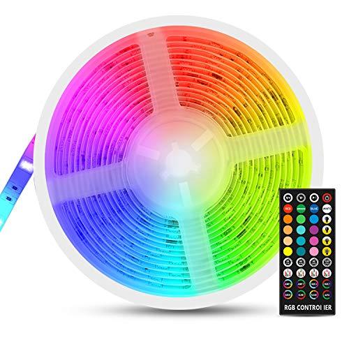 RGB LED Strip 5m, Fansteck SMD 5050 LED Streifen mit Timer, Sync mit Musik, Dimmbare Lichterkette mit Fernbedienung, IP65 Wasserdicht LED Lichtband Selbstklebende Lichtleiste für Aussenbereichen, 12V