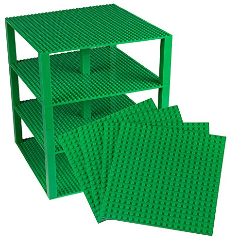 """Classic Baseplates 10"""" x 10"""" Brik Tower by Strictly Briks   100% Compatible with All Major Brands   Building Bricks for Towers, Shelves, Garages and More   4 Green Stackable Base Plates & 30 Stackers"""