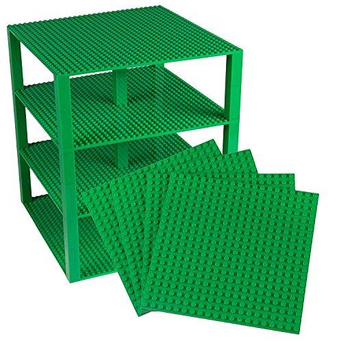 Stapelbare Premium-Bauplatten - inkl. neuen Bausteinen mit 2 x 2 Noppen - kompatibel mit allen Marken - geeignet für Turm-Konstruktionen - Set aus 4 Platten - je 10