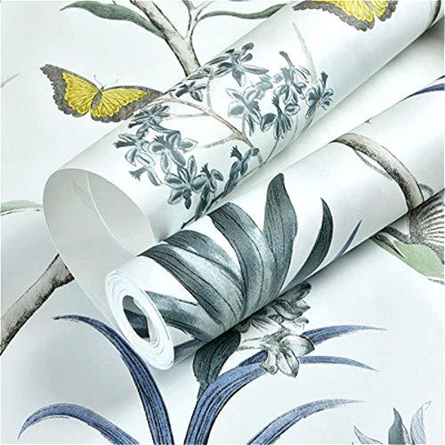 Chinoiserie Tapete Schlafzimmer Wandverkleidung moderne Vintage rosa Blumentapete blau tropische Schmetterling Vögel Blume Tapete, WP44303 blau, 10mx53cm