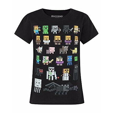 Minecraft Camiseta para niños Sprites, Camiseta Negra de Manga Corta para niña