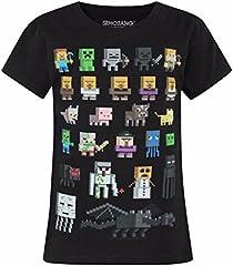 Minecraft Camiseta Oficial Modelo Sprites para Niñas Manga Corta
