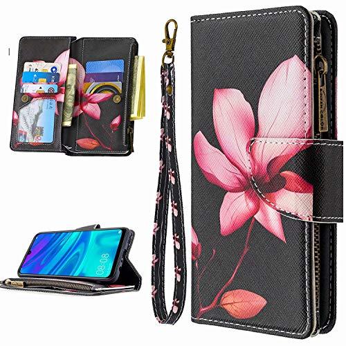 Miagon 9 Kartensteckplätzen Lederhülle für Samsung Galaxy A11/M11,Bunt Reißverschluss Flip Hülle Wallet Case Handyhülle PU Leder Tasche Schutzhülle,Rosa Blume