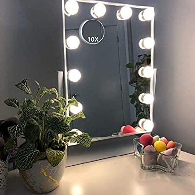 Hansong Large Hollywood Makeup Vanity Mirror with Lights,Plug in Light-up Professional Mirror,Removable 10x Magnification,3 Color Lighting Modes, Cosmetic Mirror with 12 Dimmable Bulbs