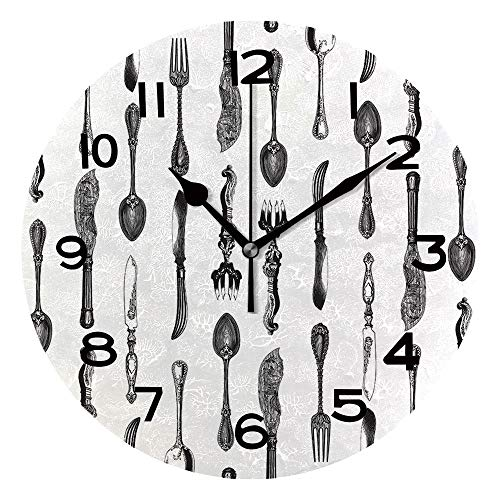 AmaUncle Frameless Decorative Clock Seamless Pattern Design with Vintage Silverware Engravings, Ornate Spoons, Knives and 10 Inch Round Wall Clock for Living Room Bedroom Office SW157351