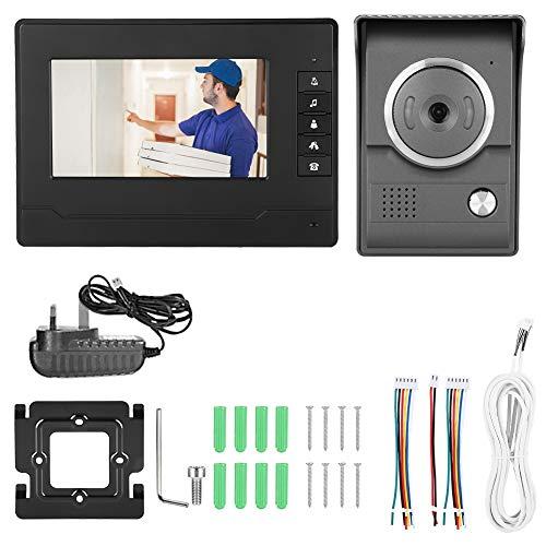 Sistema de videoportero,Videoportero Kit de Timbre para teléfono Sistema de Video Portero con Cable Impermeable con cámara de visión Nocturna y Monitor LCD,(EU100-240V)
