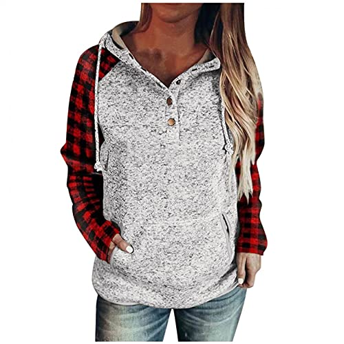 Hoodies for Women Womens Basic Solid Button Down Long Sleeve Sweatshirts with Pocket Casual Pullover Tops Hoodies