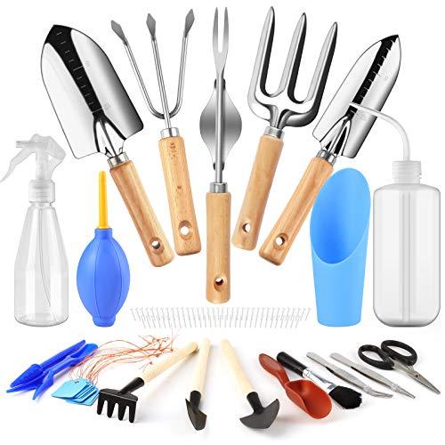 Joyhoop 21-teiliges Gartenwerkzeug Gartengeräte Set, Mini Sukkulenten Werkzeug Pflanzwerkzeuge, Garten Zubehör, Schaufeln, Harke, Unkrautjäter, für Gartenpflege Geschenk