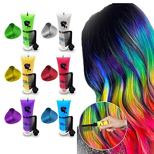 Byhoo | Haarfärbemittel für dunkles Haar, temporäre Haarfarbe, inkl. Kamm, für Mädchen und Frauen. Tolles Geschenk für mehrere Anlässe, leicht waschbar, sicherer Haarkreidekamm (6 helle Farben)